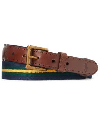 폴로 랄프로렌 Polo Ralph Lauren Mens Leather-Trim Striped Belt