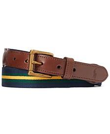 Men's Leather-Trim Striped Belt
