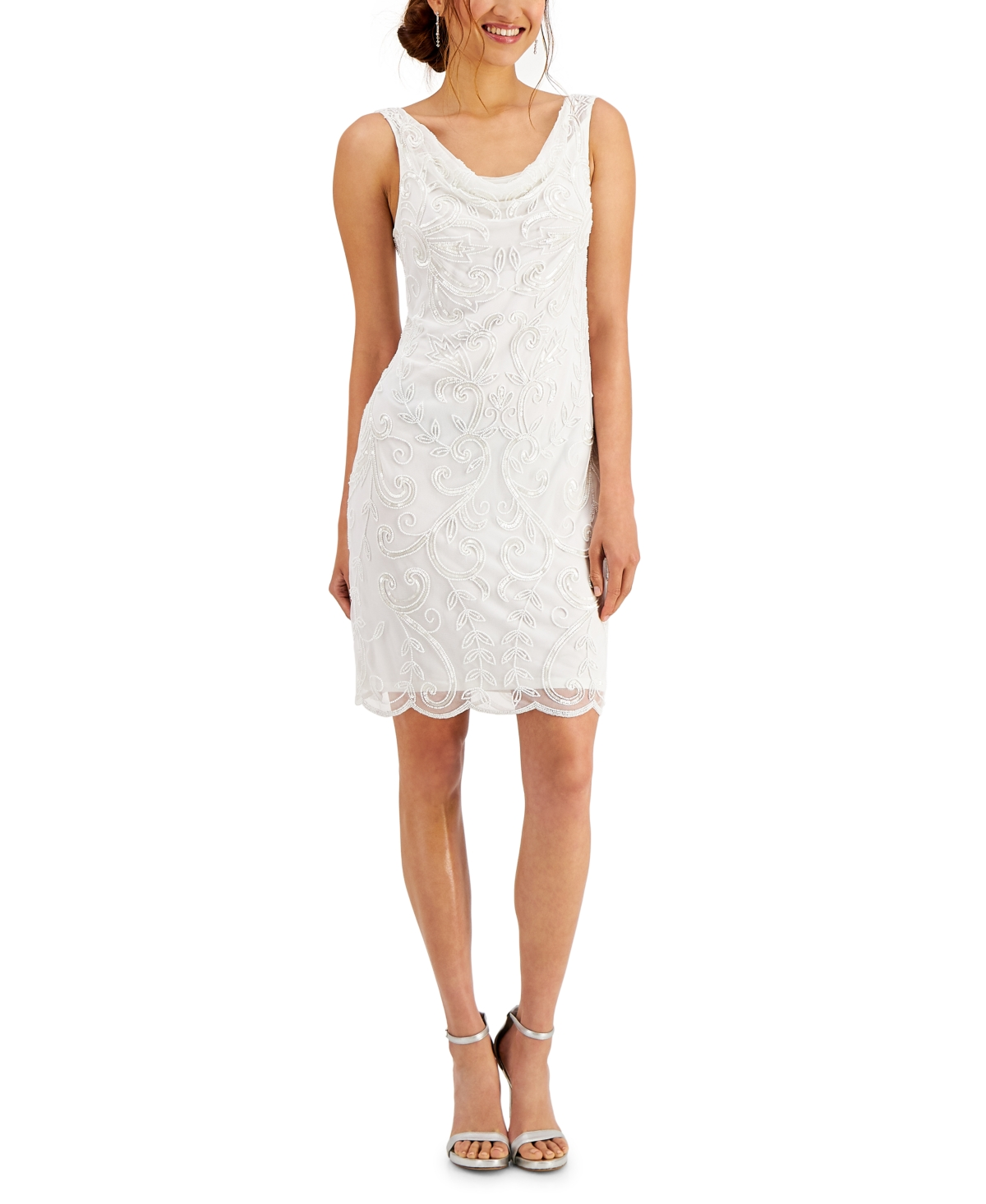 J Kara Chiffon Cowlneck Dress