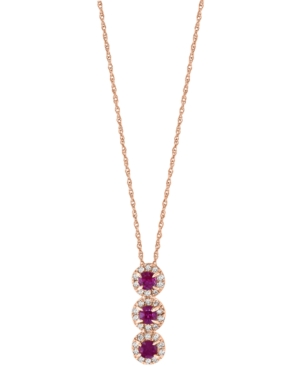 """Ruby (1/6 ct. t.w.) & Diamond (1/10 ct. t.w.) Triple Halo 17"""" Pendant Necklace in 14k Rose Gold"""