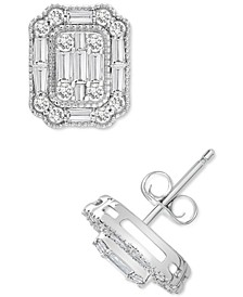Diamond Baguette Cluster Stud Earrings (1 ct. t.w.) in 14k White Gold or 14k Yellow Gold, Created for Macy's