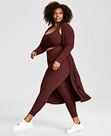 Trendy Plus Size Hacci Ribbed Duster, Created for Macy's