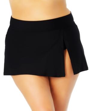 Plus Size Banded Side Slit Skirted Bottoms Women's Swimsuit