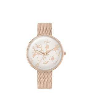 Women's Genuine Diamond Pink Dial Blush Metal Bracelet Analog Watch 39mm