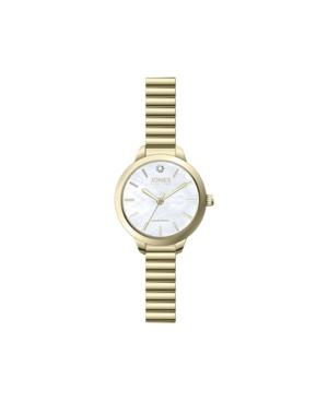 Jones New York Women's Genuine Diamond White Dial Gold-Tone Metal Narrow Bracelet Analog Watch 28mm
