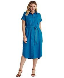 Plus-Size Linen Shirtdress