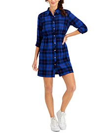 Petite Plaid Cotton Shirtdress, Created for Macy's