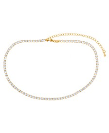 Cubic Zirconia Round-Cut Choker Necklace in Fine Gold Plate