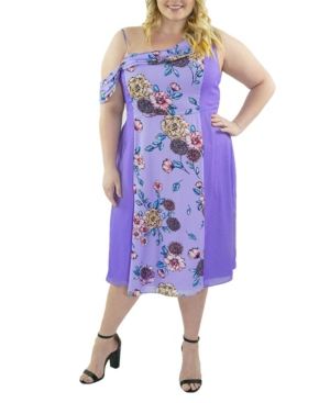 Plus Size Off The Shoulder Print Block Dress