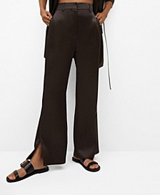 Women's Side Slit Satin Pants