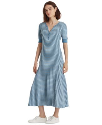로렌 랄프로렌 Lauren Ralph Lauren Henley Neck Fit-&-Flare Dress,Provincial Blue/mas Cream