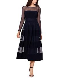 Illusion-Trim Midi Dress