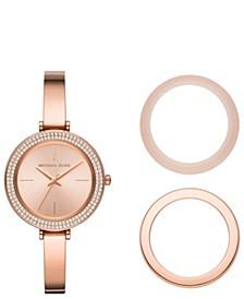 Women's Carey Three-Hand Rose Gold-Tone Stainless Steel Bracelet Watch Gift Set 36mm