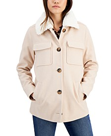 Juniors' Faux-Fur-Collar Shirt Jacket