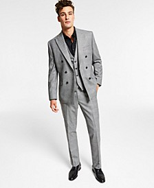 Men's Slim-Fit Black/White Plaid Vested Double-Breasted Suit Separates, Created for Macy's