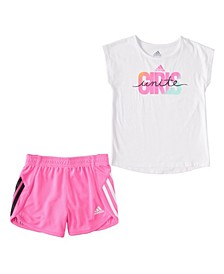 Baby Girls Graphic T-shirt and Shorts Set, 2 Piece