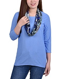 Petite 3/4 Sleeve Textured Knit Pullover with Scarf