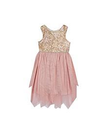 Toddler Girls Embroidered Bodice to Fairy Hem Skirt Dress