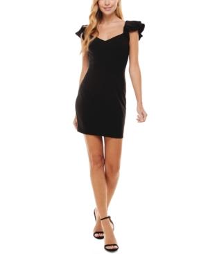 Juniors' Ruffle-Sleeve Bodycon Dress