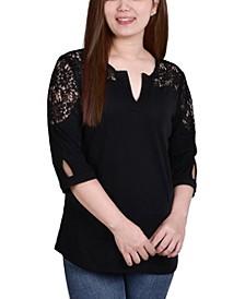 Women's 3/4 Sleeve Knit Gauze Top