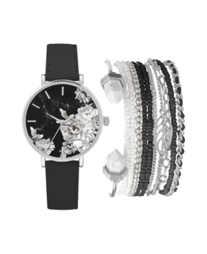 Women's Analog Black Strap and Floral Dial Watch 36mm with Silver-Tone Bracelets Set