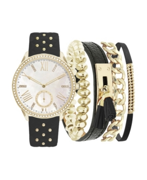 Women's Analog Black Studded Strap Watch 38mm with Stackable Bracelets Cubic Zirconia Gift Set