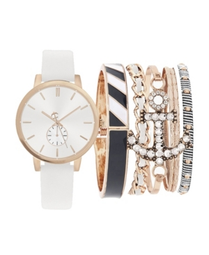 Women's Analog White Strap Watch 38mm with Stackable Navy and Rose Gold-Toned Bracelets Cubic Zirconia Gift Set