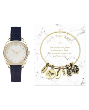 Women's Analog Black Strap Watch 34mm with Glam Mom Charm Bracelet Cubic Zirconia Gift Set