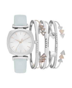 Women's Analog Mint Strap Watch 34mm with Silver-Tone Bracelets Set