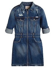Big Girls Zip Front Convertible Sleeve Denim Dress