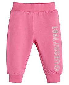 Toddler Girls Rubberized Glitter Print Logo French Terry Joggers