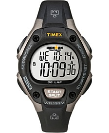 Unisex IRONMAN Classic 30 34mm Watch with Timex Pay  Black Silver-Tone with Silicone Strap