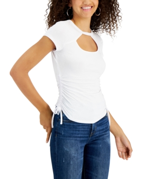 Juniors' Side-Ruched Front-Cutout Top