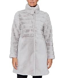 Petite Stand-Collar Faux-Fur Coat