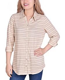 Women's 3/4 Sleeve Roll Tab Striped Jacquard Blouse
