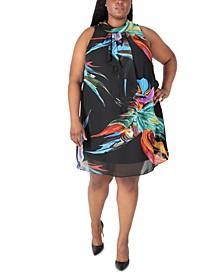 Plus Size Printed Mock Neck Dress