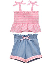 Baby Girls 2 Piece Ginham Top and Chambray Short Set