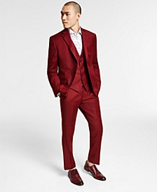 Men's Slim-Fit Red Solid Vested Suit Separates, Created for Macy's