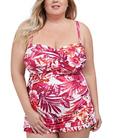 Plus Size Bali Escape Printed Swimdress