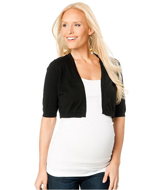 Motherhood Maternity Cropped Elbow-Sleeve Sweater