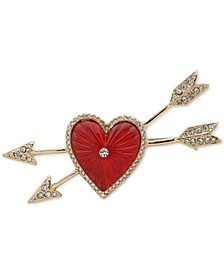 Gold-Tone Red Heart & Bow Pin