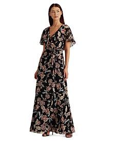 Floral Crinkled Georgette Gown