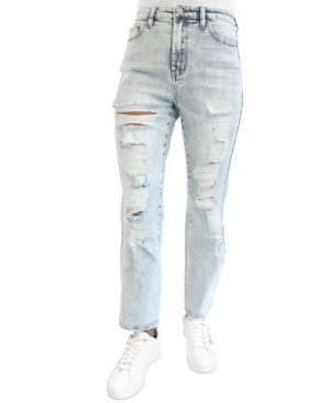 Juniors' Ripped Dad Jeans