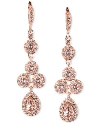 Givenchy Rose GoldTone Swarovski Element Linear Drop Earrings