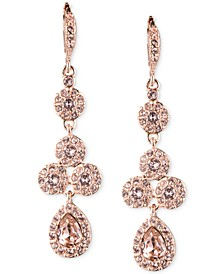Rose Gold-Tone Swarovski Element Linear Drop Earrings