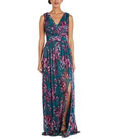 Plus Size V-Neck Floral-Print Gown