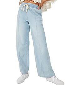 Cotton Denim Track Pants