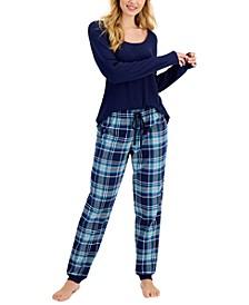 Long-Sleeve Pajama Top & Printed Pajama Pants, Created for Macy's