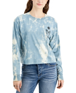 Juniors' Tie Dyed Butterfly Celestial Back Graphic Long-Sleeve T-Shirt