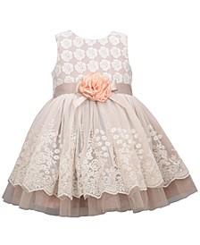 Toddler Girls Sleeveless Embroidered Lace Border Overlay Skirt Dress